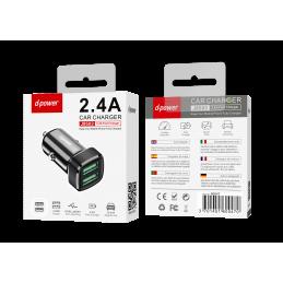 Adaptateur voiture 2 USB - Noir