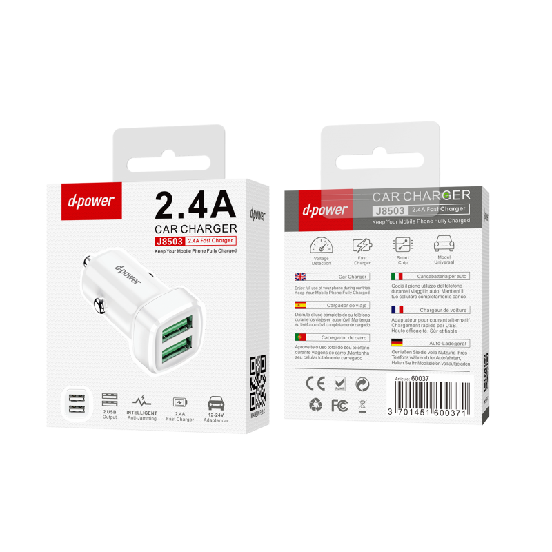 Adaptateur voiture 2 USB - Blanc