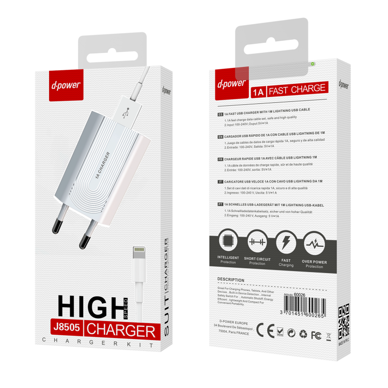 Prise secteur + câble lightning - Blanc