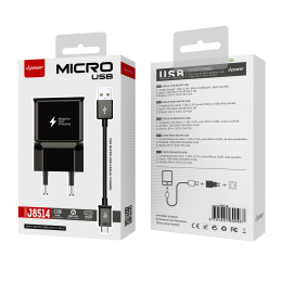 Prise secteur + câble micro USB - Noir