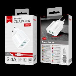 Prise secteur 2 ports USB + câble micro USB - Blanc