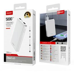 Power Bank 5000 MAH - Blanc