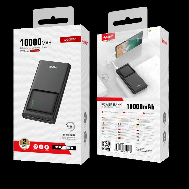 Power Bank 10000 MAH avec écran - Noir